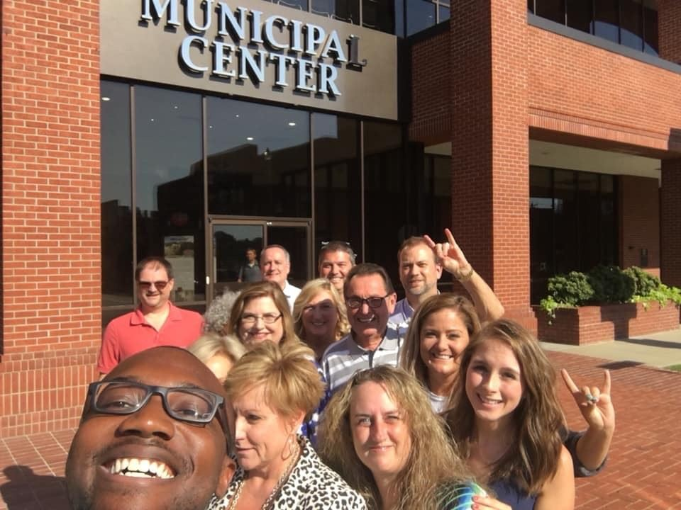Mayor Perrin along with City Hall staff in a selfie photo together.
