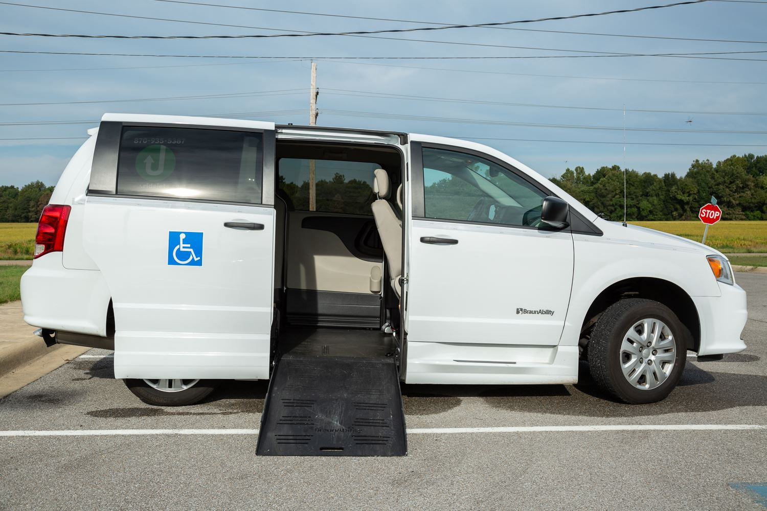 JET Paratransit Van with wheelchair ramp lowered.