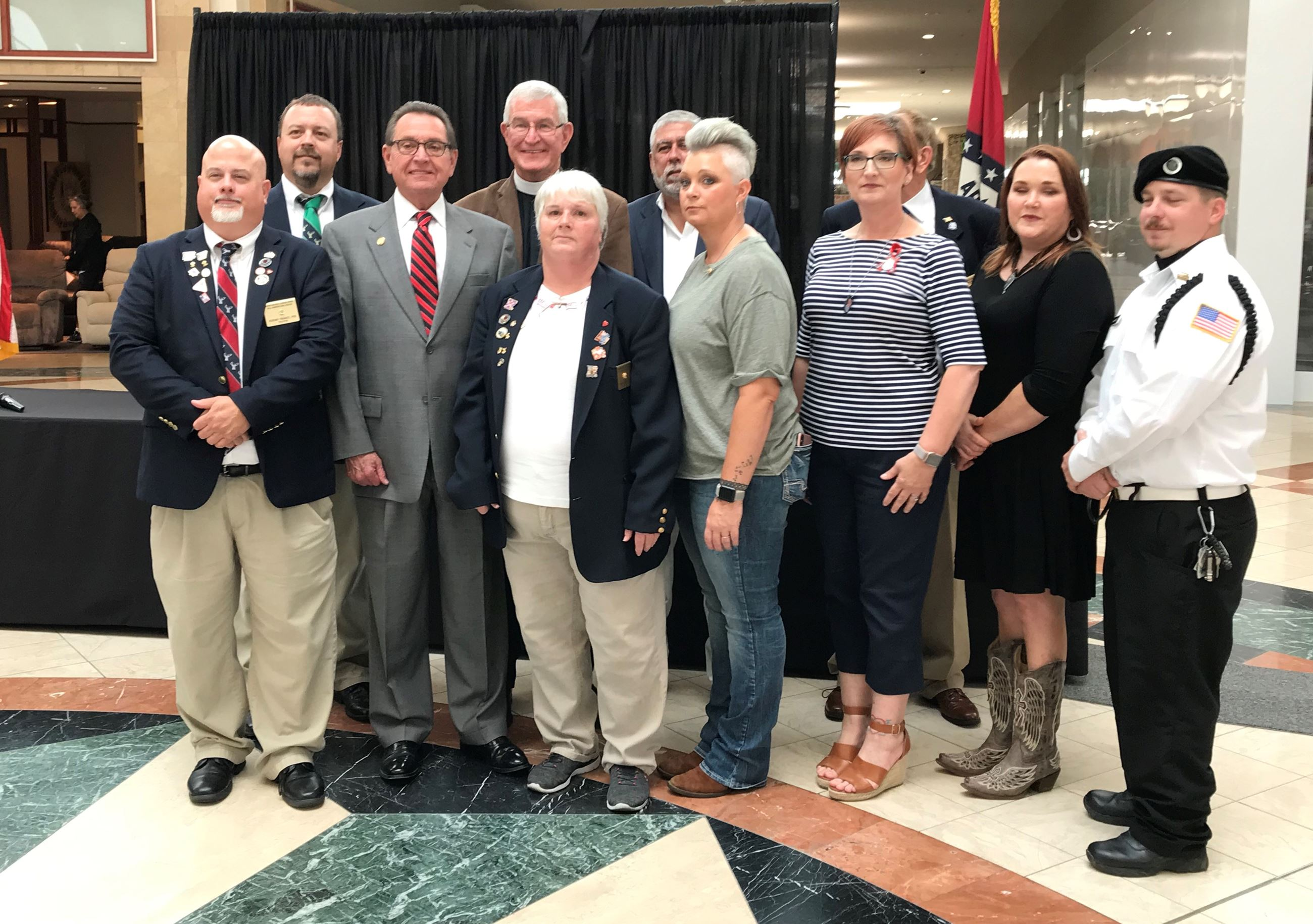 Mayor Perrin and Reverend Stuart Hoke along with members of the Jonesboro Elks Lodge.