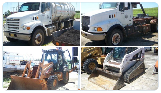 Trucks and construction equipment that will be sold at the City of Jonesboro Surplus Assets Auction