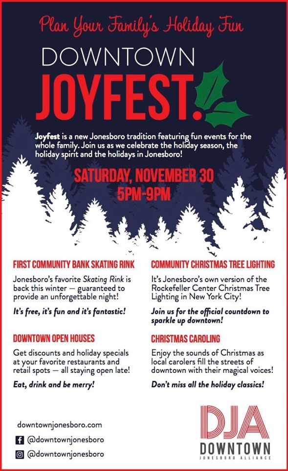 Downtown Joyfest Saturday November 30, 2019 5:00 to 9:00 p.m.