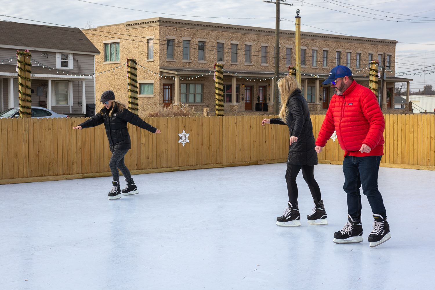People skating on faux ice at the rink