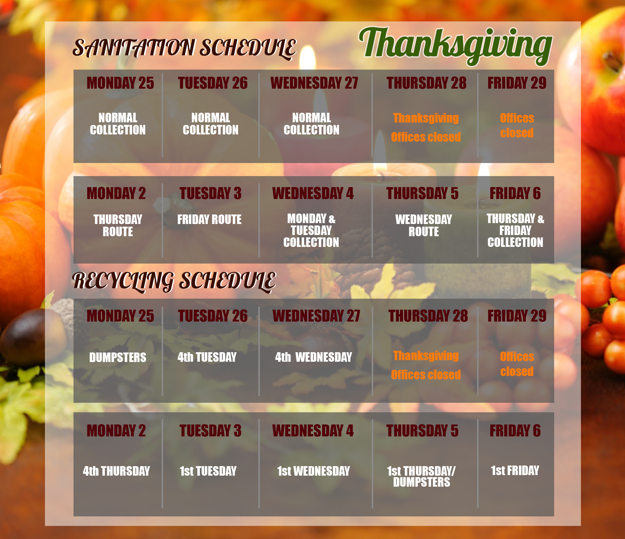 Sanitation Schedule for Thanksgiving 2019