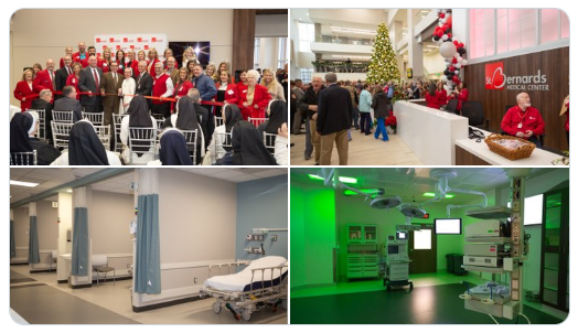 A collection of images showing the ribbon cutting and new facilities at St. Bernards Tower