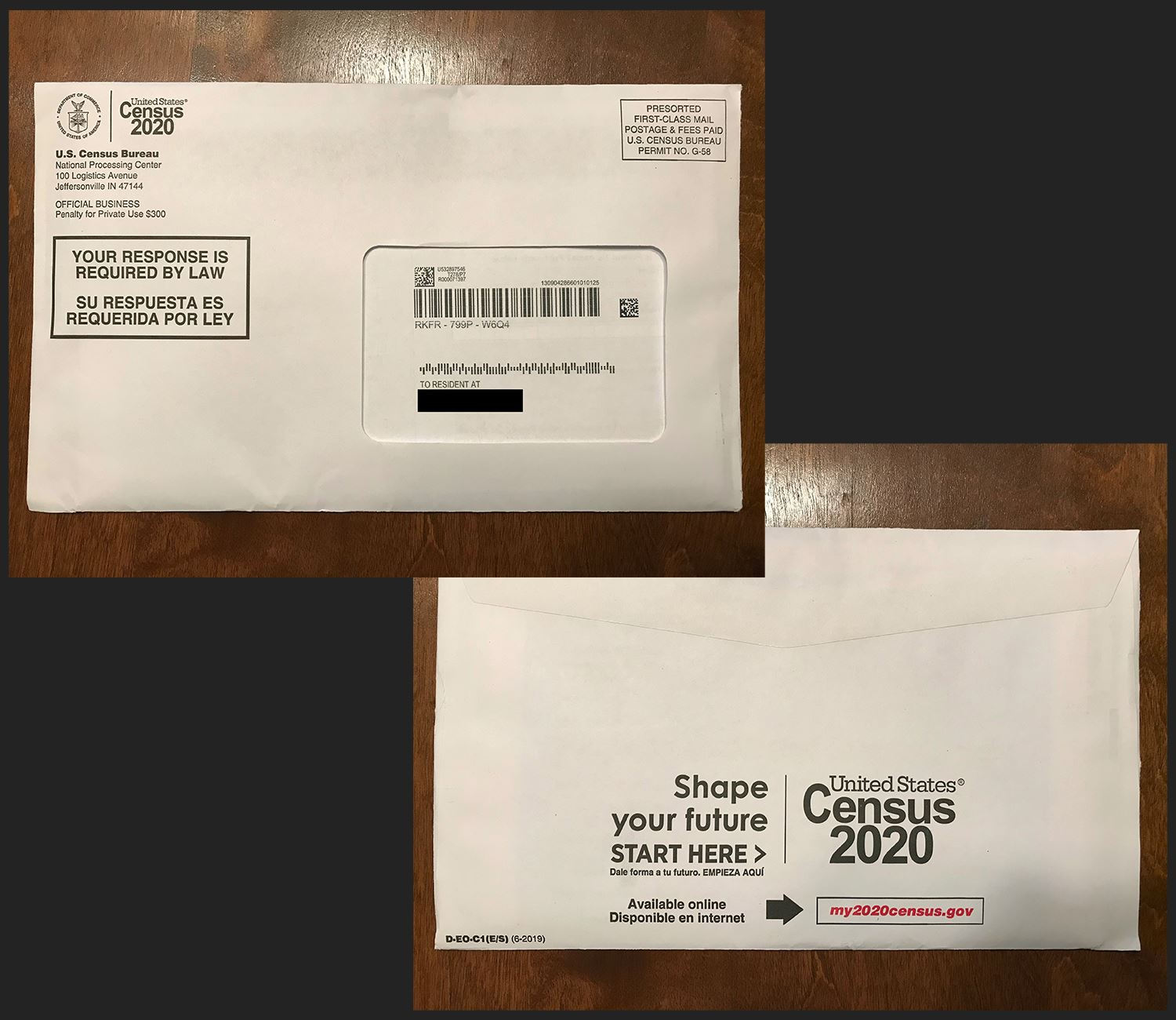 2020 Census envelope front and back side showing what it looks like