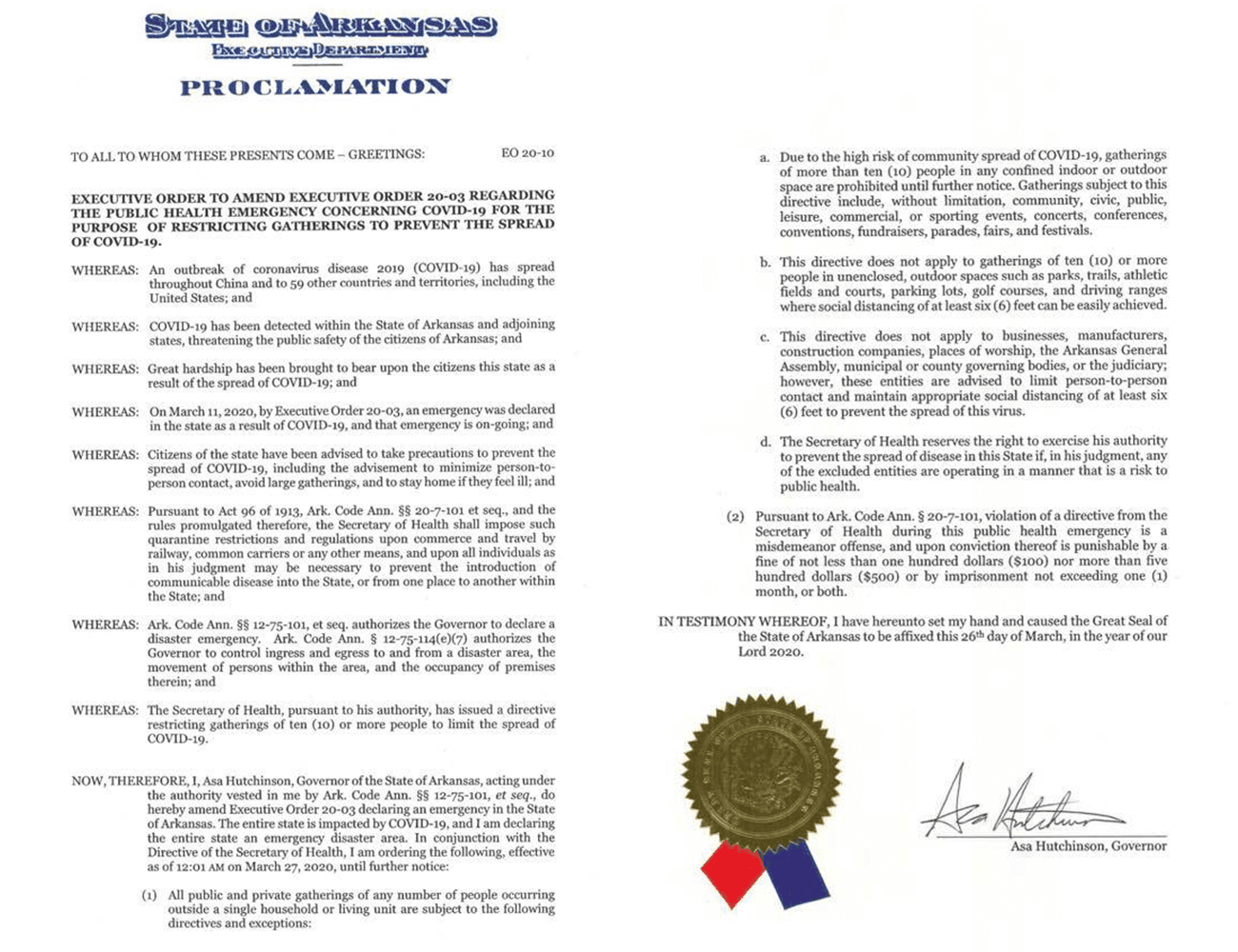 Governor Asa Hutchinson's Proclamation to restrict gatherings to prevent spread of COVID-19
