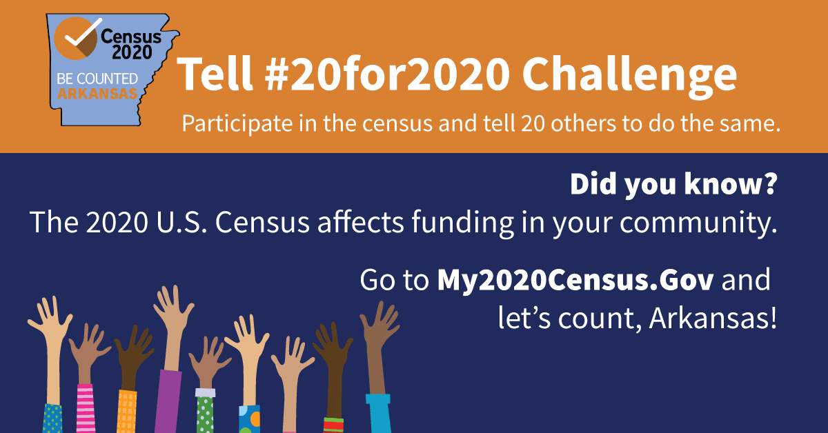 Arkansas 20 for 2020 Census Challenge Graphic